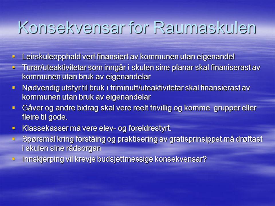 Konsekvensar for Raumaskulen  Leirskuleopphald vert finansiert av kommunen utan eigenandel  Turar/uteaktivitetar som inngår i skulen sine planar skal finaniserast av kommunen utan bruk av eigenandelar  Nødvendig utstyr til bruk i friminutt/uteaktivitetar skal finansierast av kommunen utan bruk av eigenandelar  Gåver og andre bidrag skal vere reelt frivillig og komme grupper eller fleire til gode.
