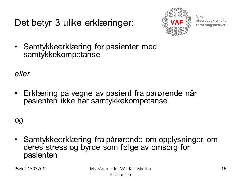 PsykIT 15032011Msc/Adm.leder VAF Kari Midtbø Kristiansen Det betyr 3 ulike erklæringer: Samtykkeerklæring for pasienter med samtykkekompetanse eller E