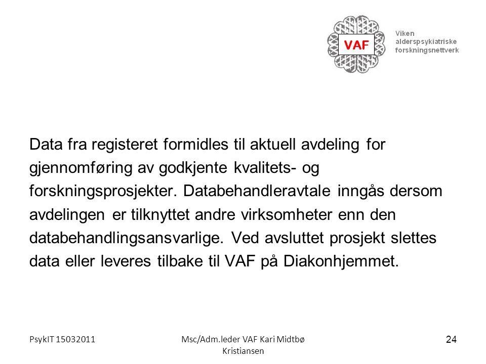 PsykIT 15032011Msc/Adm.leder VAF Kari Midtbø Kristiansen Data fra registeret formidles til aktuell avdeling for gjennomføring av godkjente kvalitets-