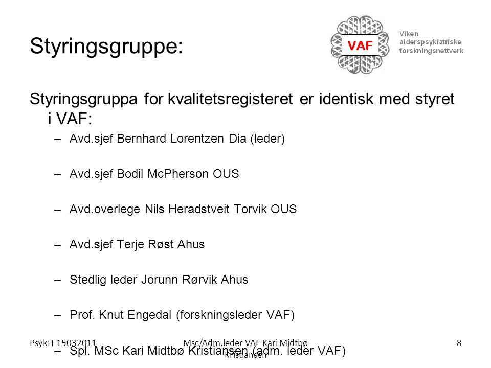 PsykIT 15032011Msc/Adm.leder VAF Kari Midtbø Kristiansen Styringsgruppe: Styringsgruppa for kvalitetsregisteret er identisk med styret i VAF: –Avd.sje