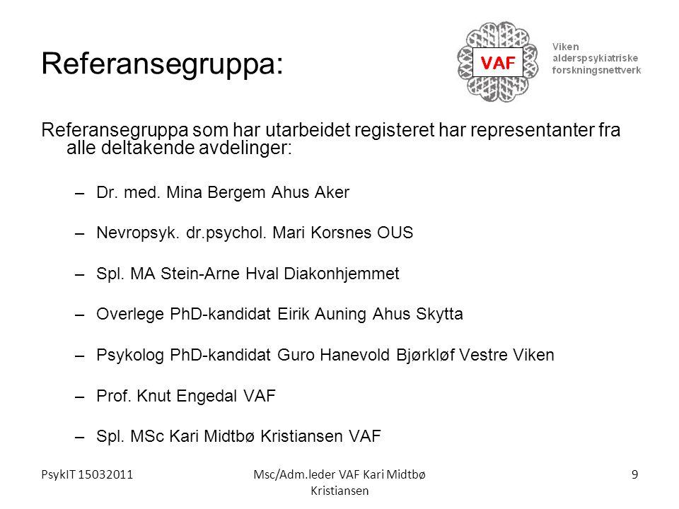 PsykIT 15032011Msc/Adm.leder VAF Kari Midtbø Kristiansen Referansegruppa: Referansegruppa som har utarbeidet registeret har representanter fra alle de