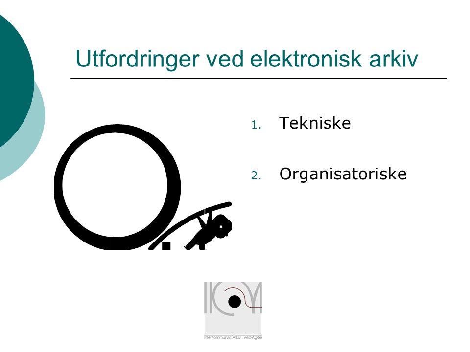 Utfordringer ved elektronisk arkiv 1. Tekniske 2. Organisatoriske
