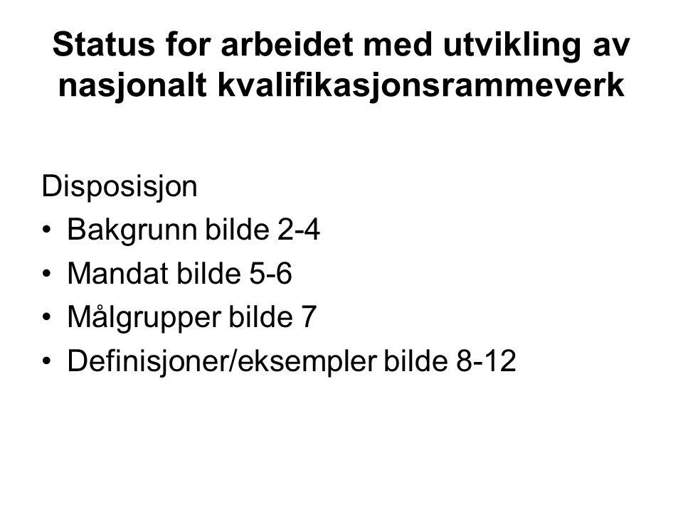 Status for arbeidet med utvikling av nasjonalt kvalifikasjonsrammeverk Disposisjon Bakgrunn bilde 2-4 Mandat bilde 5-6 Målgrupper bilde 7 Definisjoner/eksempler bilde 8-12