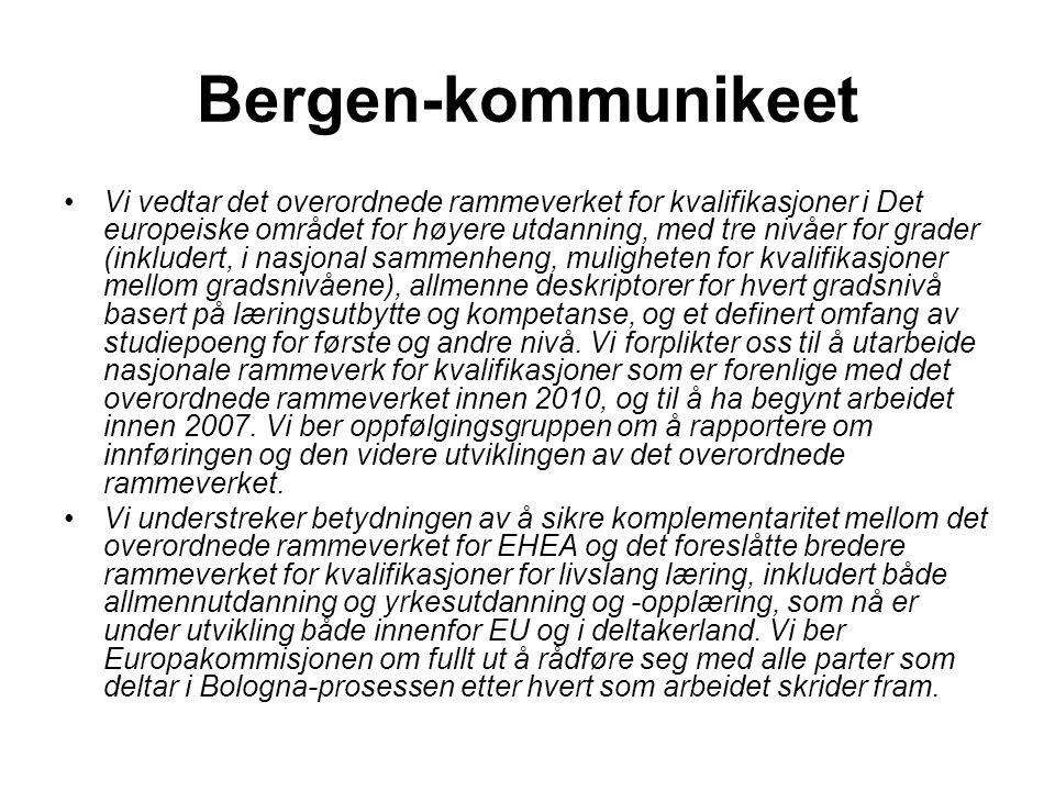 Bergen-kommunikeet Vi vedtar det overordnede rammeverket for kvalifikasjoner i Det europeiske området for høyere utdanning, med tre nivåer for grader