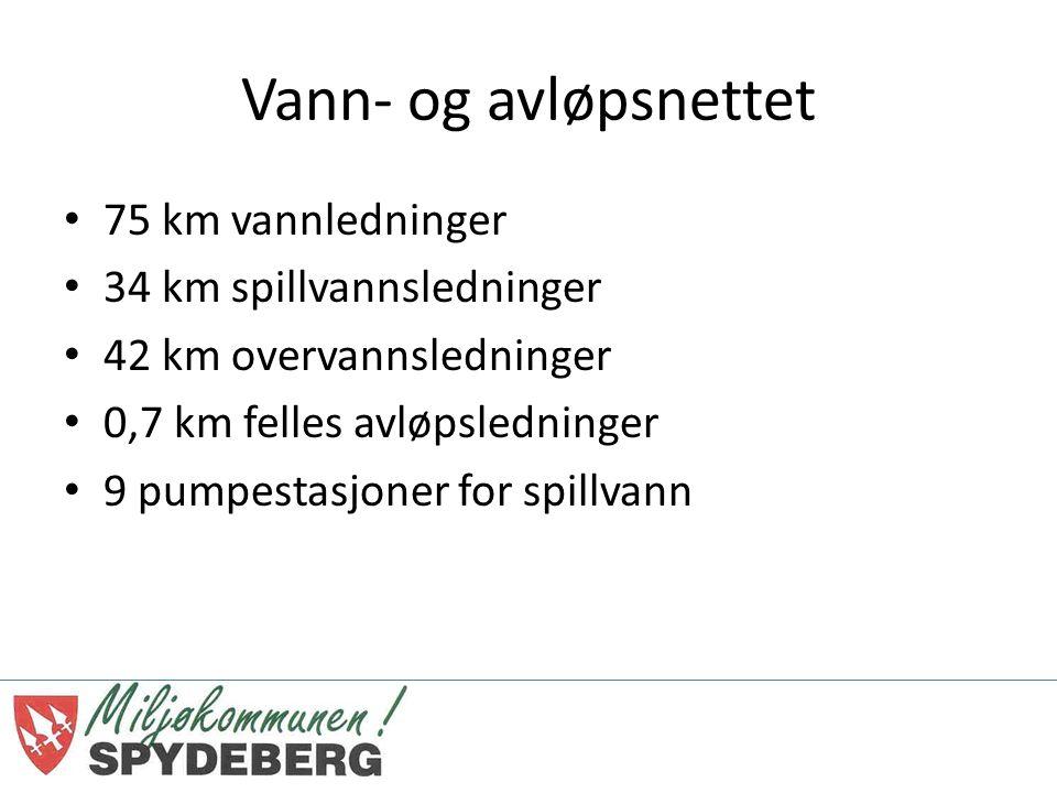 Vann- og avløpsnettet 75 km vannledninger 34 km spillvannsledninger 42 km overvannsledninger 0,7 km felles avløpsledninger 9 pumpestasjoner for spillvann