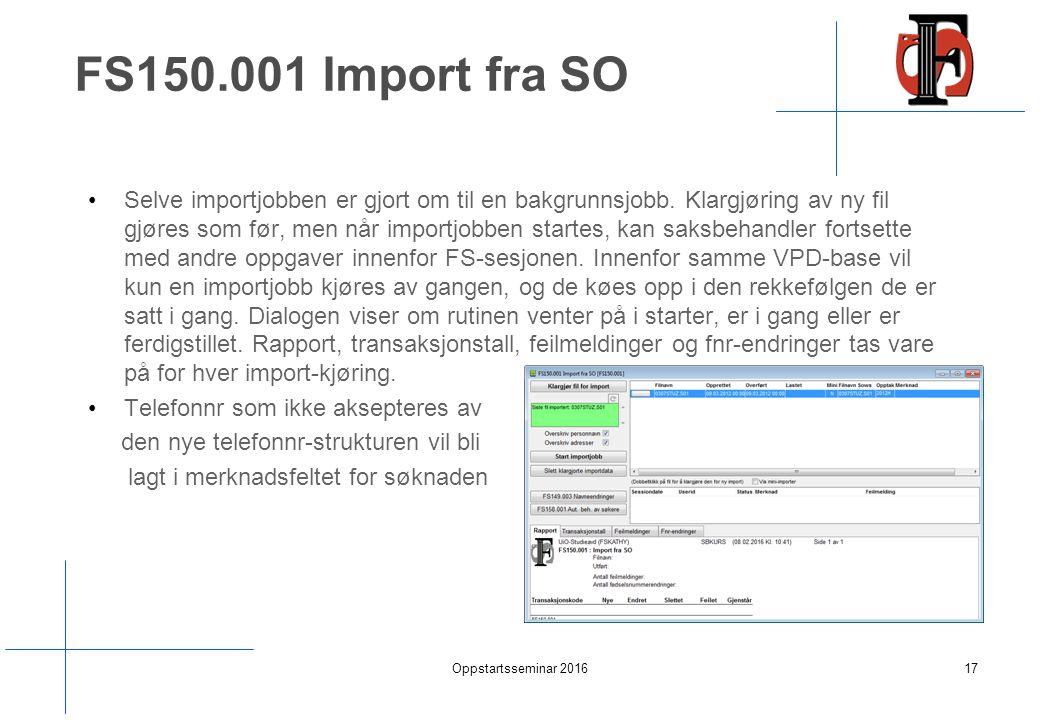 FS150.001 Import fra SO Selve importjobben er gjort om til en bakgrunnsjobb.