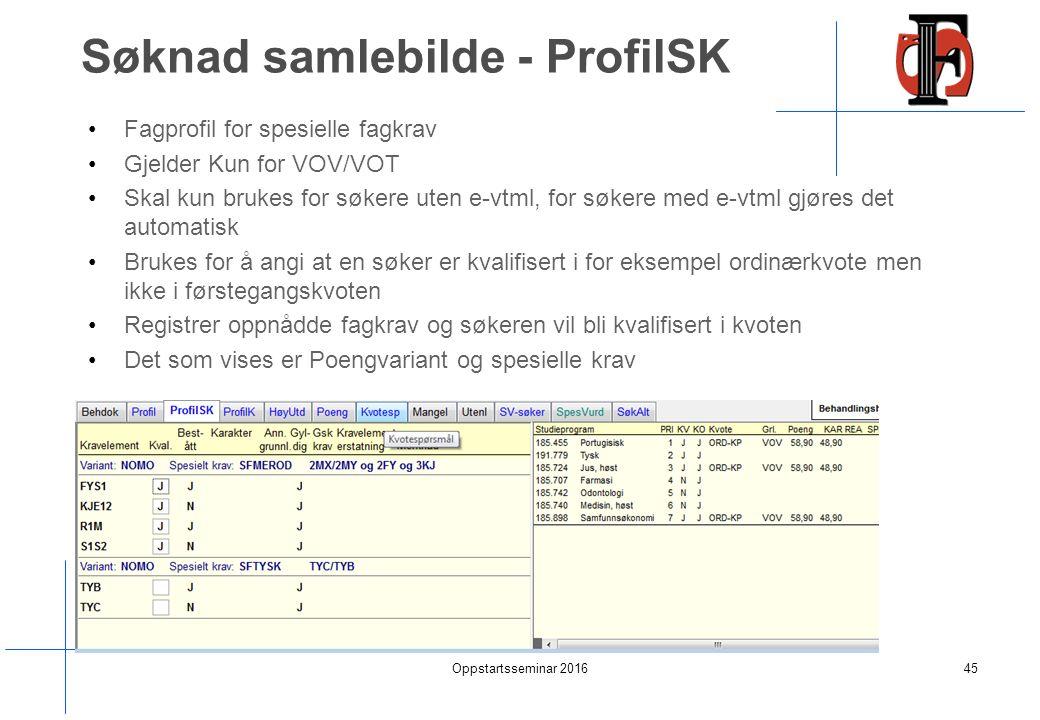 Søknad samlebilde - ProfilSK Fagprofil for spesielle fagkrav Gjelder Kun for VOV/VOT Skal kun brukes for søkere uten e-vtml, for søkere med e-vtml gjøres det automatisk Brukes for å angi at en søker er kvalifisert i for eksempel ordinærkvote men ikke i førstegangskvoten Registrer oppnådde fagkrav og søkeren vil bli kvalifisert i kvoten Det som vises er Poengvariant og spesielle krav Oppstartsseminar 201645