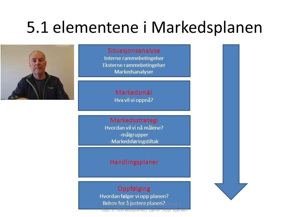 5.1 elementene i Markedsplanen Situasjonsanalyse Interne rammebetingelser Eksterne rammebetingelser Markedsanalyser Markedsmål Hva vil vi oppnå.