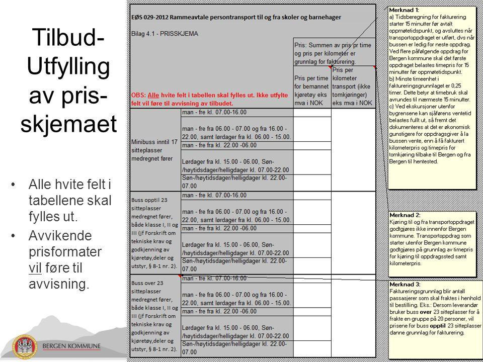 Tilbud- Utfylling av pris- skjemaet Alle hvite felt i tabellene skal fylles ut.