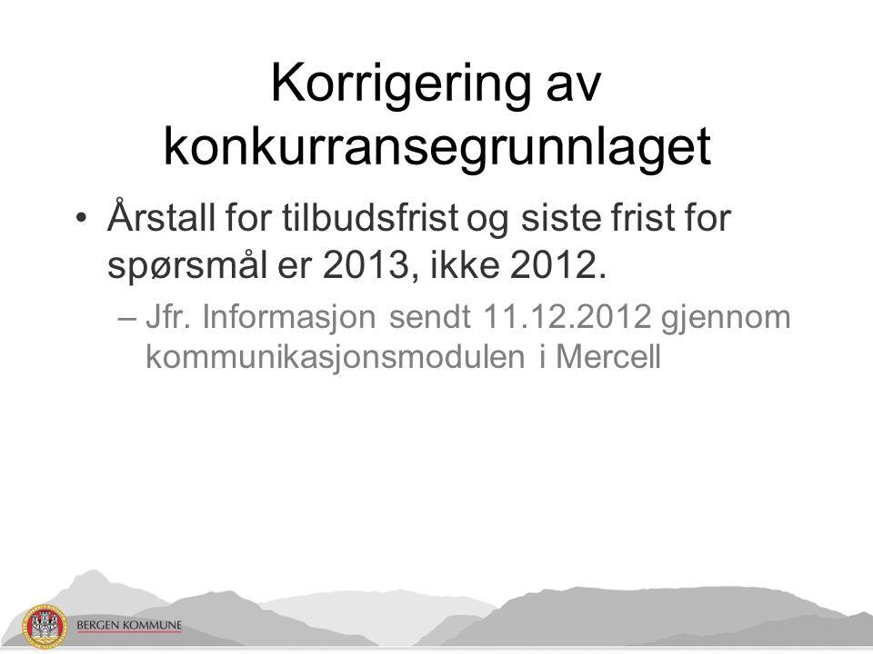 Korrigering av konkurransegrunnlaget Årstall for tilbudsfrist og siste frist for spørsmål er 2013, ikke 2012.