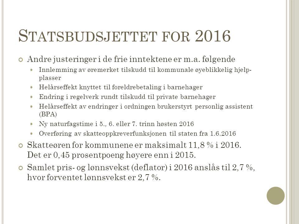 S TATSBUDSJETTET FOR 2016 Andre justeringer i de frie inntektene er m.a. følgende Innlemming av øremerket tilskudd til kommunale øyeblikkelig hjelp- p
