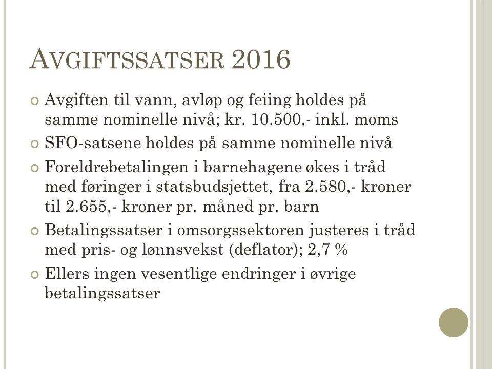 A VGIFTSSATSER 2016 Avgiften til vann, avløp og feiing holdes på samme nominelle nivå; kr. 10.500,- inkl. moms SFO-satsene holdes på samme nominelle n