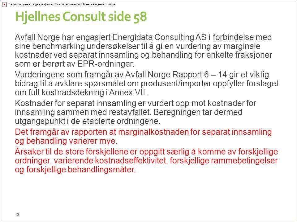 Hjellnes Consult side 58 Avfall Norge har engasjert Energidata Consulting AS i forbindelse med sine benchmarking undersøkelser til å gi en vurdering av marginale kostnader ved separat innsamling og behandling for enkelte fraksjoner som er berørt av EPR-ordninger.