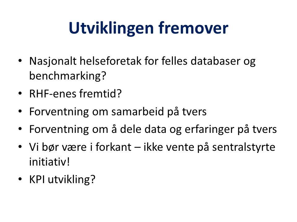 Utviklingen fremover Nasjonalt helseforetak for felles databaser og benchmarking? RHF-enes fremtid? Forventning om samarbeid på tvers Forventning om å