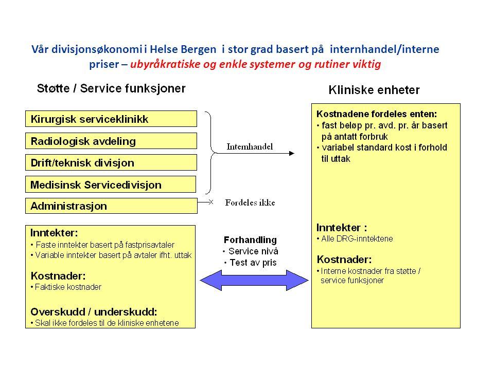 Vår divisjonsøkonomi i Helse Bergen i stor grad basert på internhandel/interne priser – ubyråkratiske og enkle systemer og rutiner viktig