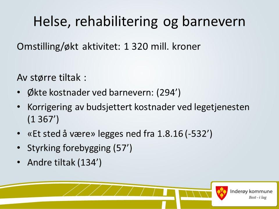 Helse, rehabilitering og barnevern Omstilling/økt aktivitet: 1 320 mill.