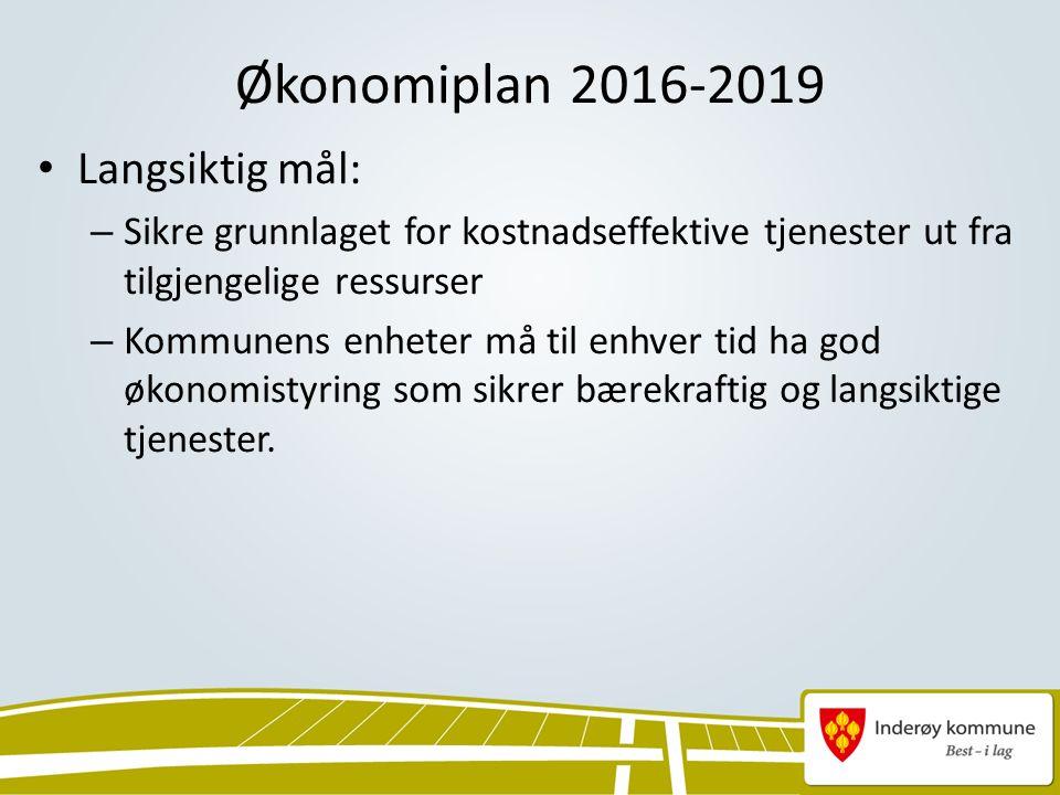 Økonomiplan 2016-2019 Langsiktig mål: – Sikre grunnlaget for kostnadseffektive tjenester ut fra tilgjengelige ressurser – Kommunens enheter må til enhver tid ha god økonomistyring som sikrer bærekraftig og langsiktige tjenester.