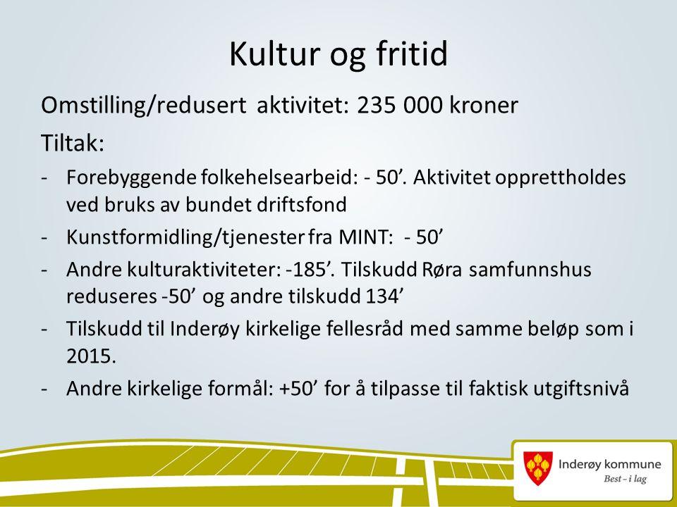 Kultur og fritid Omstilling/redusert aktivitet: 235 000 kroner Tiltak: -Forebyggende folkehelsearbeid: - 50'.