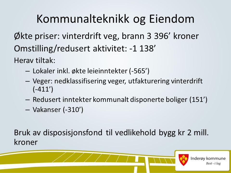 Kommunalteknikk og Eiendom Økte priser: vinterdrift veg, brann 3 396' kroner Omstilling/redusert aktivitet: -1 138' Herav tiltak: – Lokaler inkl.