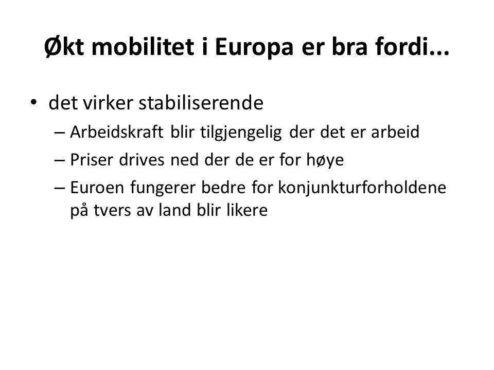 Økt mobilitet i Europa er bra fordi...