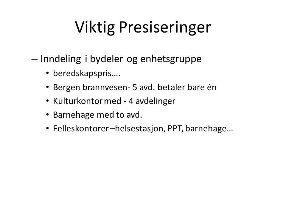 Viktig Presiseringer – Inndeling i bydeler og enhetsgruppe beredskapspris….