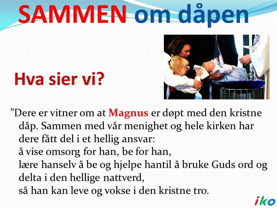 Hva sier vi. Dere er vitner om at Magnus er døpt med den kristne dåp.
