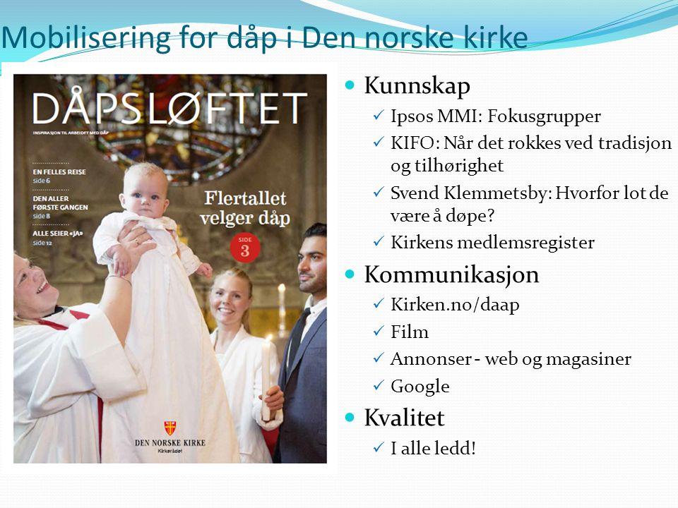 Kunnskap Ipsos MMI: Fokusgrupper KIFO: Når det rokkes ved tradisjon og tilhørighet Svend Klemmetsby: Hvorfor lot de være å døpe.