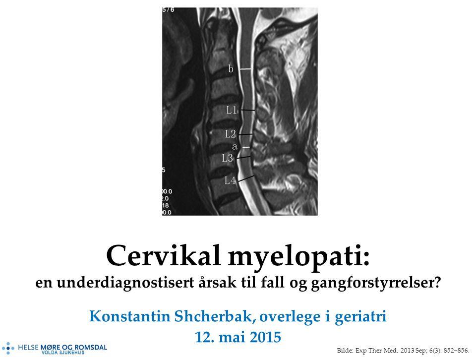 VOLDA SJUKEHUS Cervikal myelopati: en underdiagnostisert årsak til fall og gangforstyrrelser.