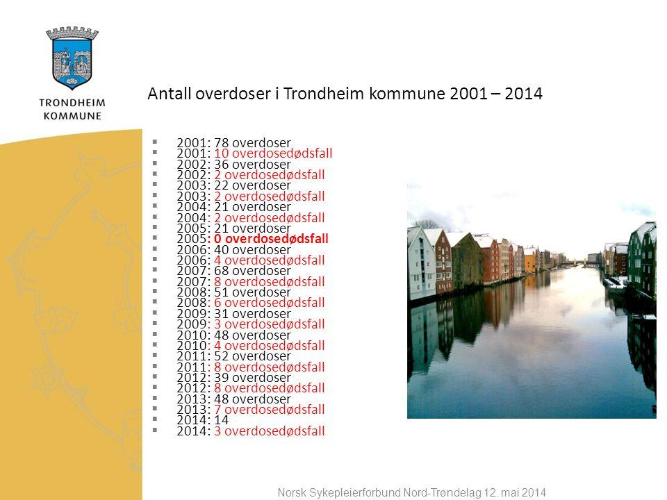 Antall overdoser i Trondheim kommune 2001 – 2014  2001: 78 overdoser  2001: 10 overdosedødsfall  2002: 36 overdoser  2002: 2 overdosedødsfall  2003: 22 overdoser  2003: 2 overdosedødsfall  2004: 21 overdoser  2004: 2 overdosedødsfall  2005: 21 overdoser  2005: 0 overdosedødsfall  2006: 40 overdoser  2006: 4 overdosedødsfall  2007: 68 overdoser  2007: 8 overdosedødsfall  2008: 51 overdoser  2008: 6 overdosedødsfall  2009: 31 overdoser  2009: 3 overdosedødsfall  2010: 48 overdoser  2010: 4 overdosedødsfall  2011: 52 overdoser  2011: 8 overdosedødsfall  2012: 39 overdoser  2012: 8 overdosedødsfall  2013: 48 overdoser  2013: 7 overdosedødsfall  2014: 14  2014: 3 overdosedødsfall Norsk Sykepleierforbund Nord-Trøndelag 12.
