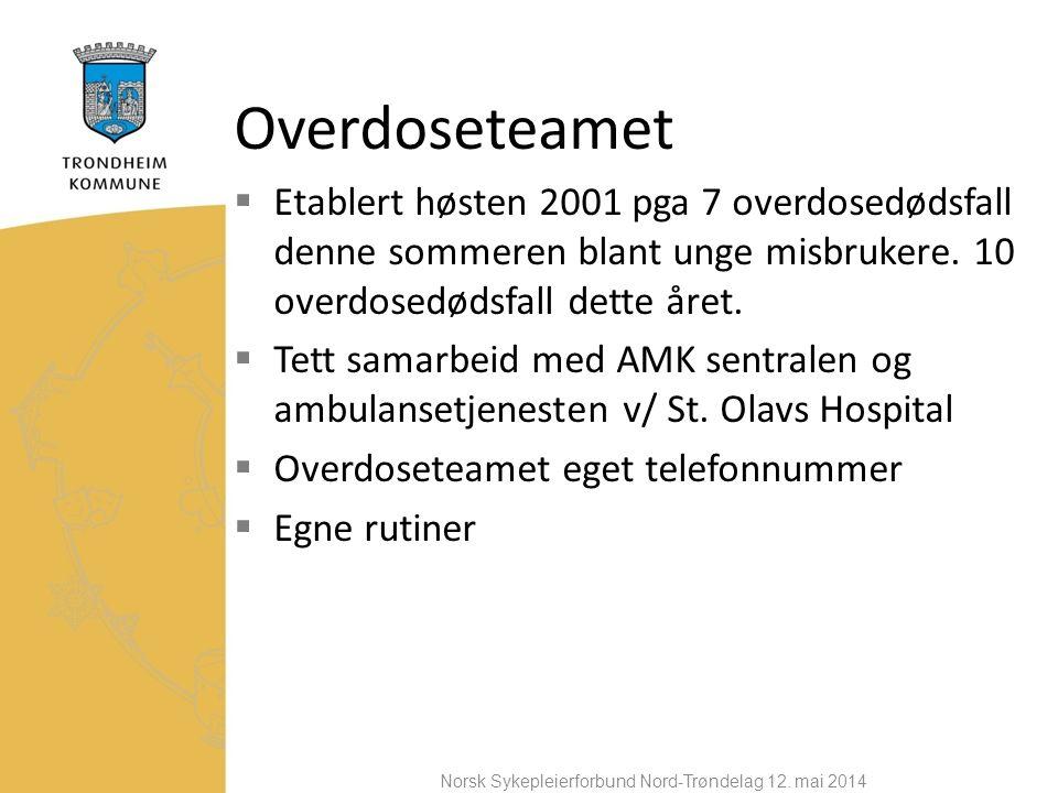Overdoseteamet  Etablert høsten 2001 pga 7 overdosedødsfall denne sommeren blant unge misbrukere.