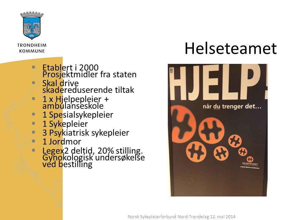Helseteamet  Etablert i 2000 Prosjektmidler fra staten  Skal drive skadereduserende tiltak  1 x Hjelpepleier + ambulanseskole  1 Spesialsykepleier  1 Sykepleier  3 Psykiatrisk sykepleier  1 Jordmor  Legex2 deltid, 20% stilling.