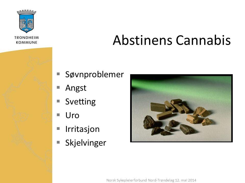 Abstinens Cannabis  Søvnproblemer  Angst  Svetting  Uro  Irritasjon  Skjelvinger Norsk Sykepleierforbund Nord-Trøndelag 12.