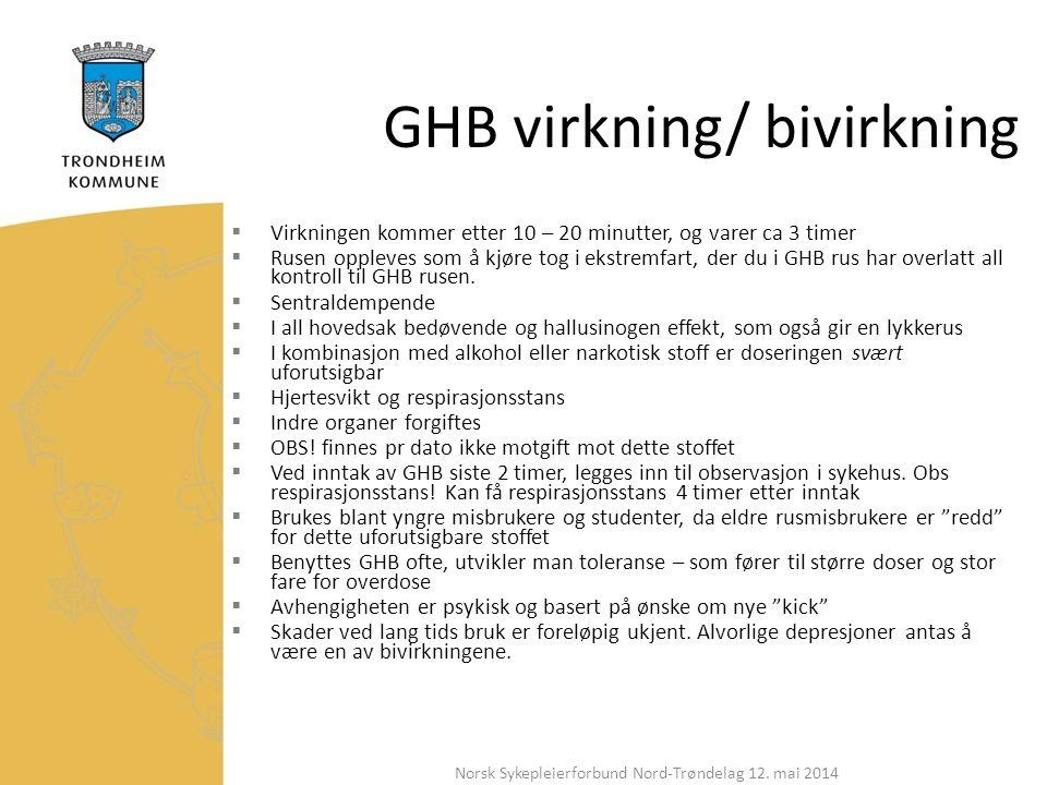 GHB virkning/ bivirkning  Virkningen kommer etter 10 – 20 minutter, og varer ca 3 timer  Rusen oppleves som å kjøre tog i ekstremfart, der du i GHB rus har overlatt all kontroll til GHB rusen.