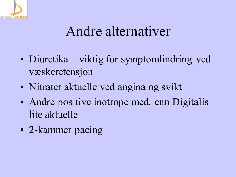 Andre alternativer Diuretika – viktig for symptomlindring ved væskeretensjon Nitrater aktuelle ved angina og svikt Andre positive inotrope med. enn Di