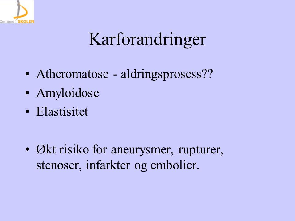 Karforandringer Atheromatose - aldringsprosess .