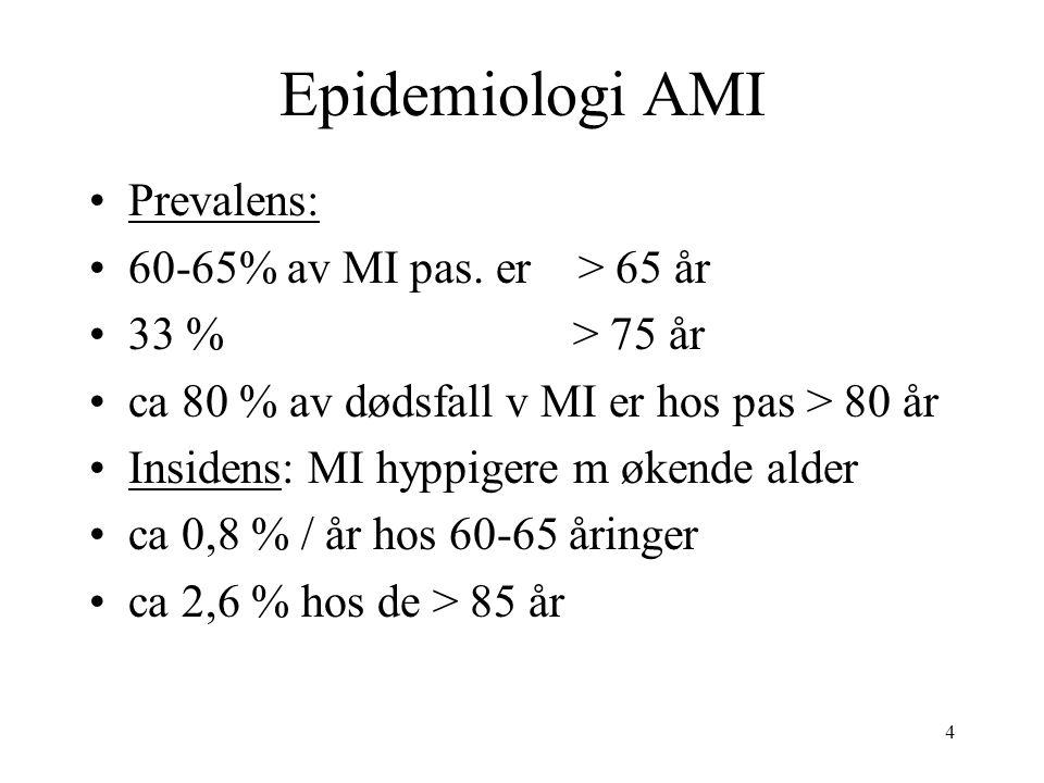 75 Senior PAMI (dr Grines,TCT okt-05) Tidligere studier vist at eldre med AMI oftere har redusert PCI suksess ift yngre pga : øket blødningsrisk,- øket risk for slag,- øket risk nyresvikt,- død eldre har hyppigere : 3-kar sykdom,- lavere EF,- lavere mulighet for å oppnå timi 3 flow i infarsert coronar kar som igjen fører til at eldre medfører spesiell utfordring ved PCI