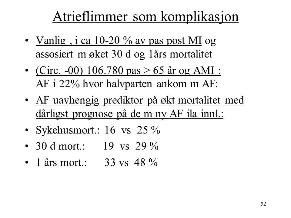 52 Atrieflimmer som komplikasjon Vanlig, i ca 10-20 % av pas post MI og assosiert m øket 30 d og 1års mortalitet (Circ.