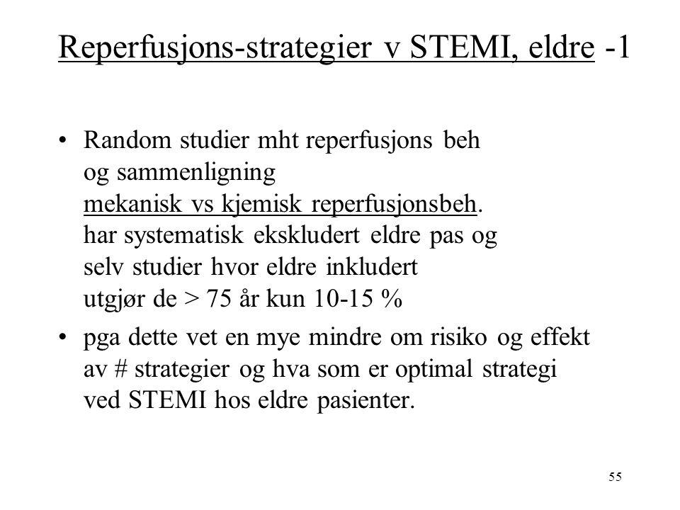 55 Reperfusjons-strategier v STEMI, eldre -1 Random studier mht reperfusjons beh og sammenligning mekanisk vs kjemisk reperfusjonsbeh.