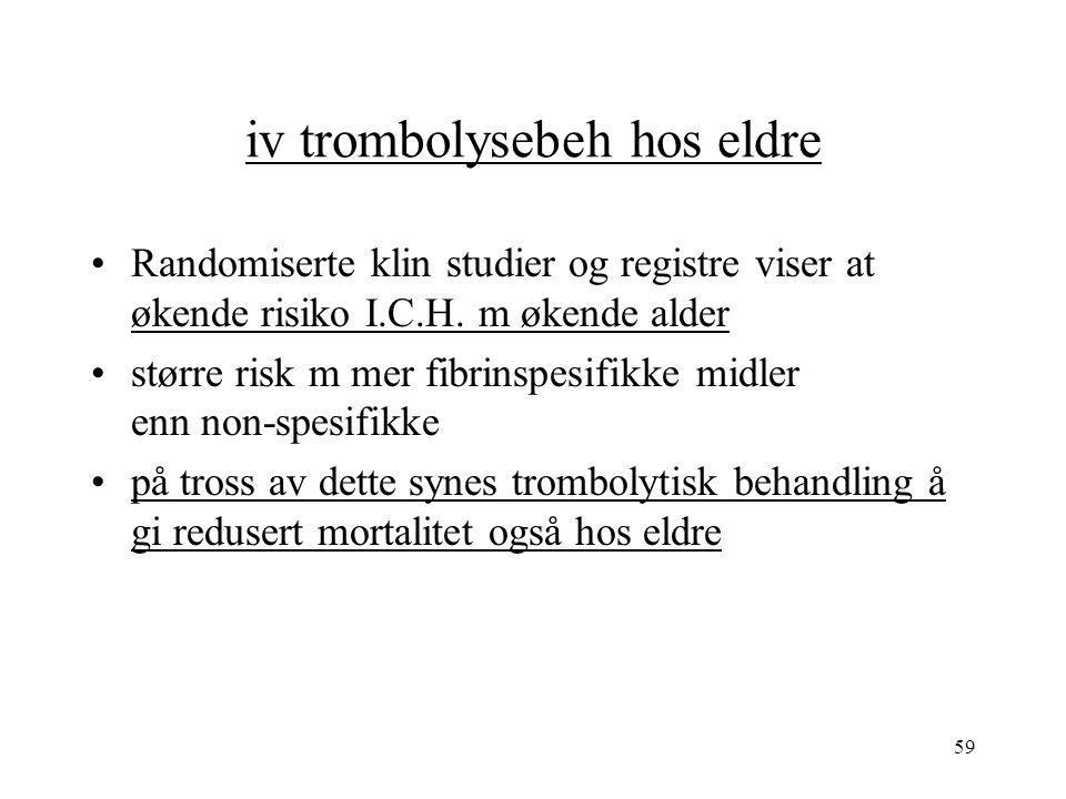 59 iv trombolysebeh hos eldre Randomiserte klin studier og registre viser at økende risiko I.C.H.