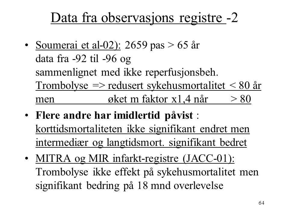 64 Data fra observasjons registre -2 Soumerai et al-02): 2659 pas > 65 år data fra -92 til -96 og sammenlignet med ikke reperfusjonsbeh.