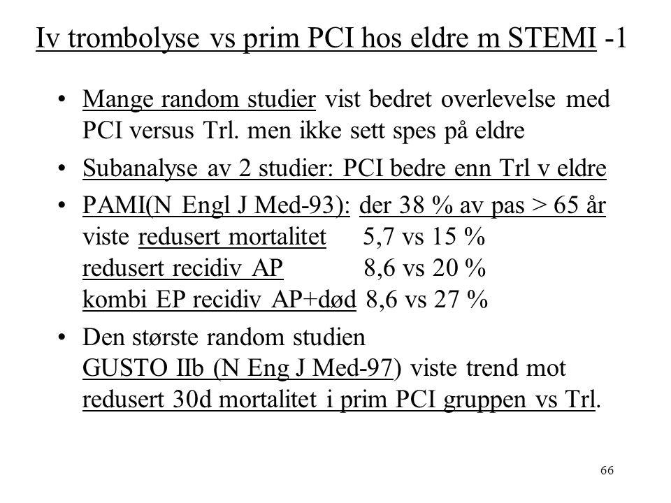 66 Iv trombolyse vs prim PCI hos eldre m STEMI -1 Mange random studier vist bedret overlevelse med PCI versus Trl.