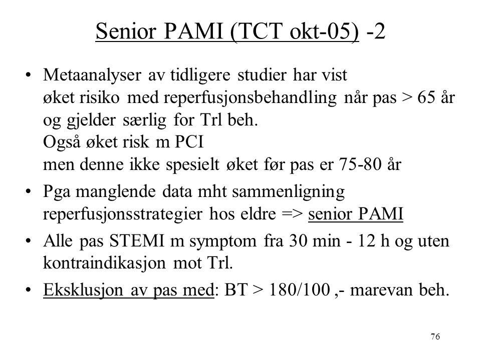76 Senior PAMI (TCT okt-05) -2 Metaanalyser av tidligere studier har vist øket risiko med reperfusjonsbehandling når pas > 65 år og gjelder særlig for Trl beh.