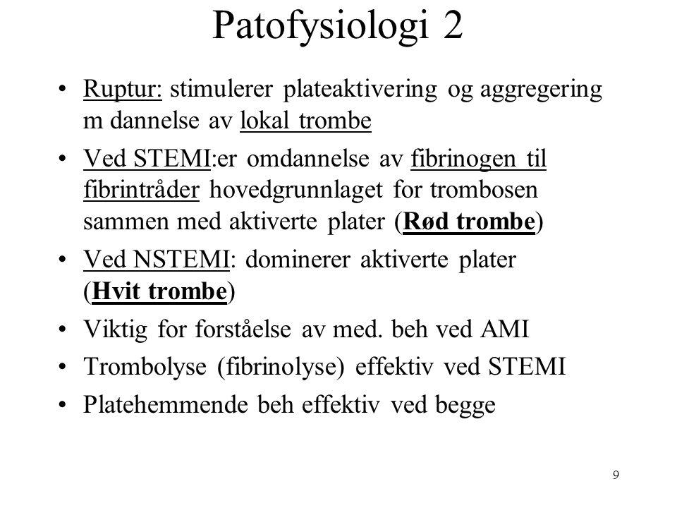 9 Patofysiologi 2 Ruptur: stimulerer plateaktivering og aggregering m dannelse av lokal trombe Ved STEMI:er omdannelse av fibrinogen til fibrintråder hovedgrunnlaget for trombosen sammen med aktiverte plater (Rød trombe) Ved NSTEMI: dominerer aktiverte plater (Hvit trombe) Viktig for forståelse av med.