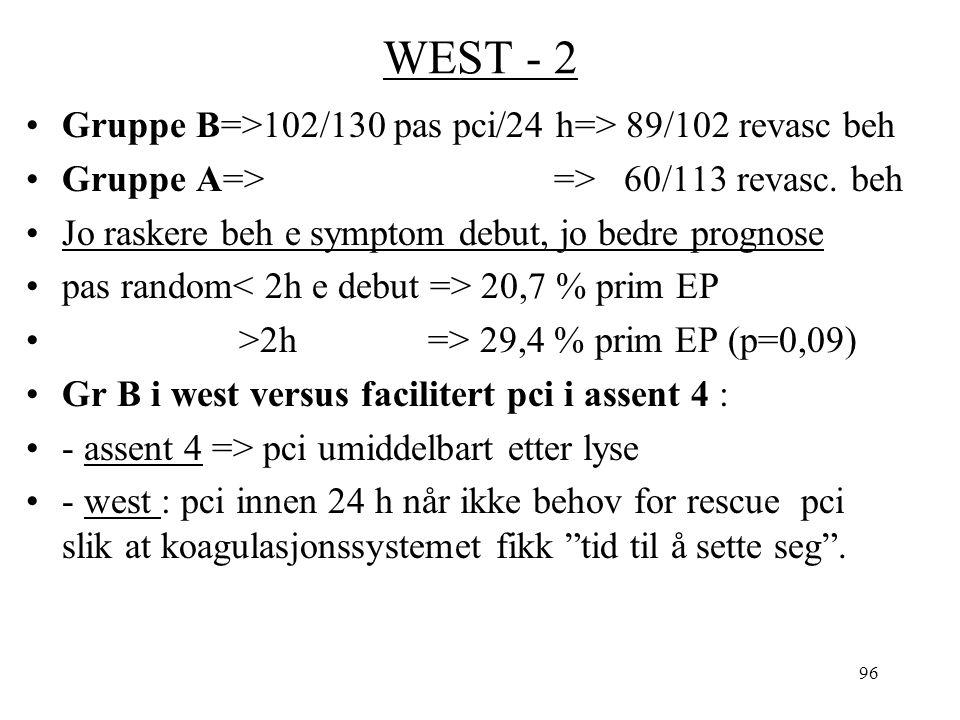 96 WEST - 2 Gruppe B=>102/130 pas pci/24 h=> 89/102 revasc beh Gruppe A=> => 60/113 revasc.