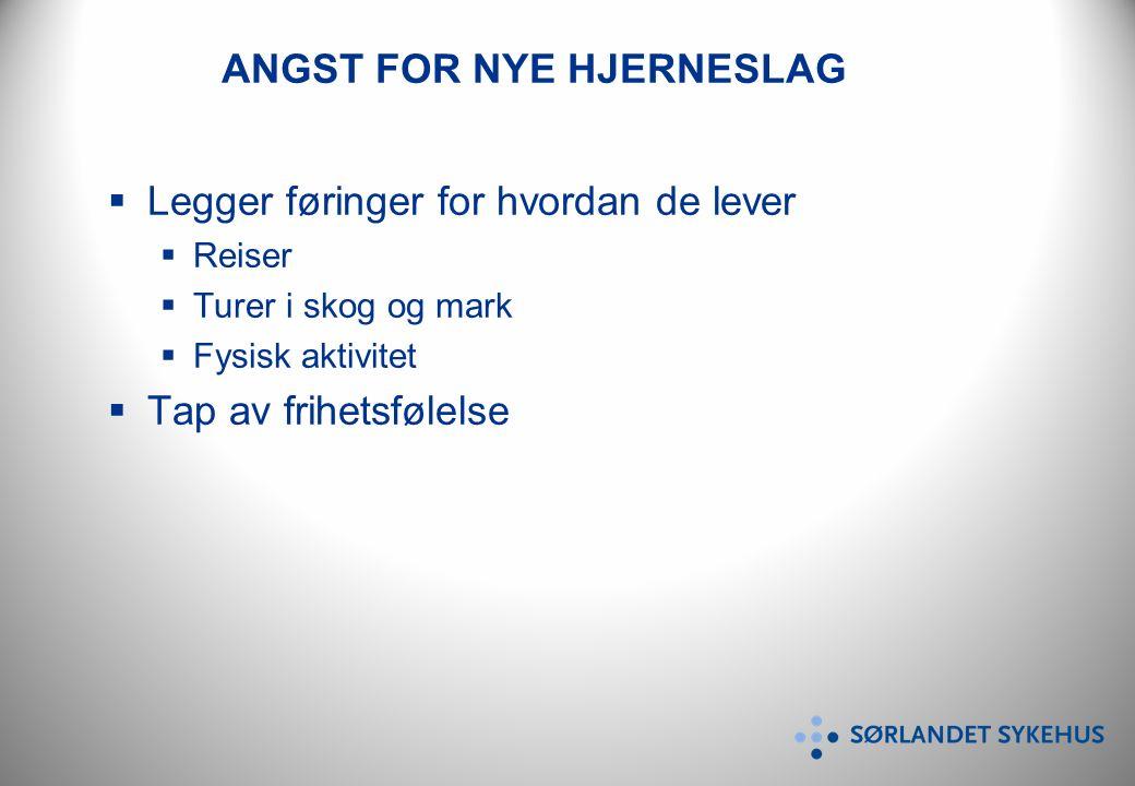 ANGST FOR NYE HJERNESLAG  Legger føringer for hvordan de lever  Reiser  Turer i skog og mark  Fysisk aktivitet  Tap av frihetsfølelse