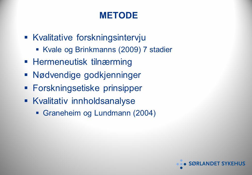 METODE  Kvalitative forskningsintervju  Kvale og Brinkmanns (2009) 7 stadier  Hermeneutisk tilnærming  Nødvendige godkjenninger  Forskningsetiske prinsipper  Kvalitativ innholdsanalyse  Graneheim og Lundmann (2004)