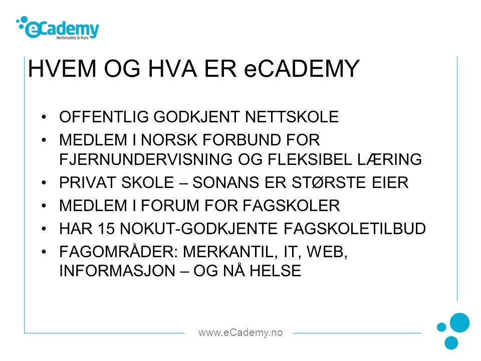 www.eCademy.no OFFENTLIG GODKJENT NETTSKOLE MEDLEM I NORSK FORBUND FOR FJERNUNDERVISNING OG FLEKSIBEL LÆRING PRIVAT SKOLE – SONANS ER STØRSTE EIER MEDLEM I FORUM FOR FAGSKOLER HAR 15 NOKUT-GODKJENTE FAGSKOLETILBUD FAGOMRÅDER: MERKANTIL, IT, WEB, INFORMASJON – OG NÅ HELSE HVEM OG HVA ER eCADEMY