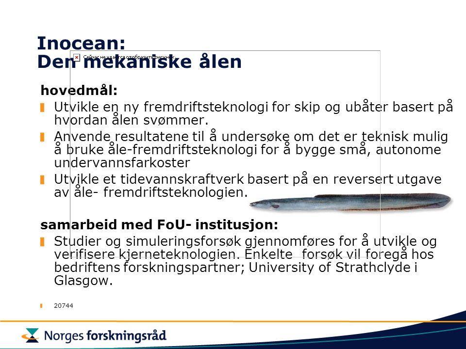 Inocean: Den mekaniske ålen hovedmål: Utvikle en ny fremdriftsteknologi for skip og ubåter basert på hvordan ålen svømmer.