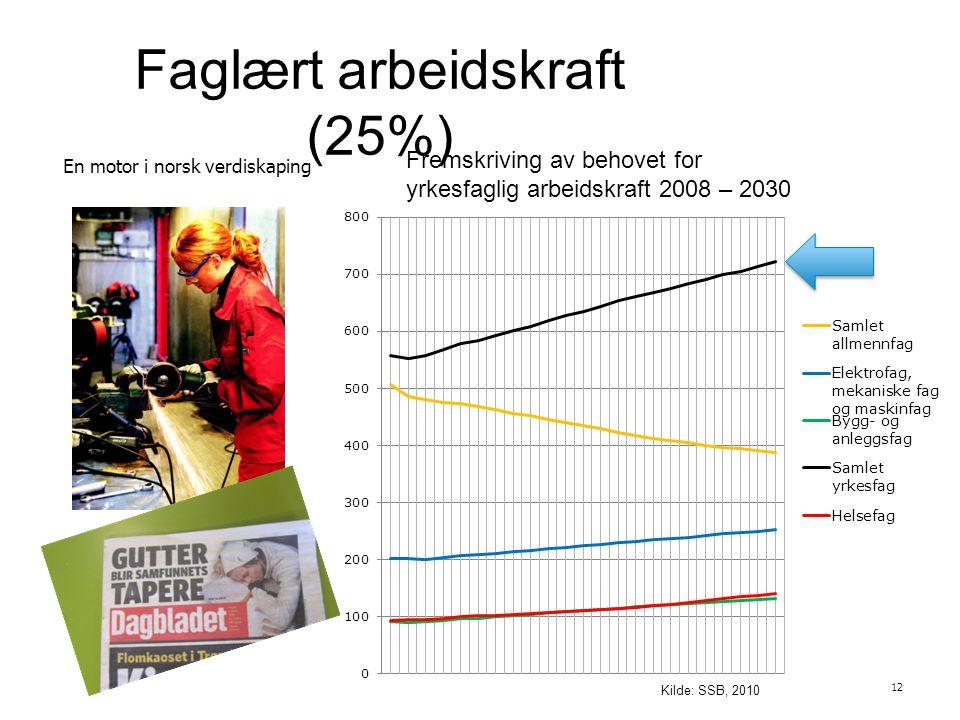 Faglært arbeidskraft (25%) 12 En motor i norsk verdiskaping Fremskriving av behovet for yrkesfaglig arbeidskraft 2008 – 2030 Kilde: SSB, 2010