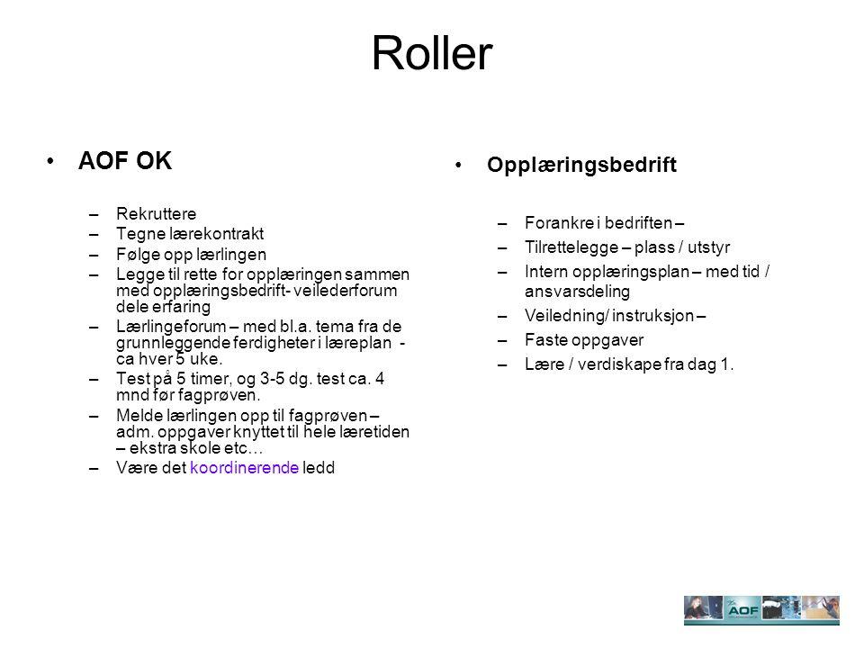 Roller AOF OK –Rekruttere –Tegne lærekontrakt –Følge opp lærlingen –Legge til rette for opplæringen sammen med opplæringsbedrift- veilederforum dele erfaring –Lærlingeforum – med bl.a.